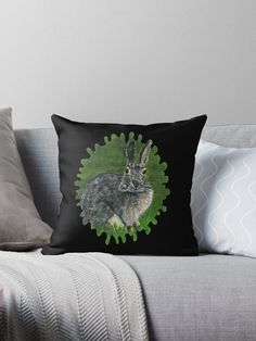 """""""Wild Cottontail Bunny"""" Throw Pillow by YollieBeeArt   Redbubble"""