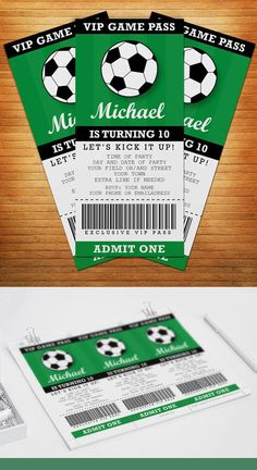 Are you having a soccer (football for non-Americans) themed party? And are you looking for an awesome invitation that fits your theme? This free printable party invitation in the form of a soccer match ticket is fully editable. Kids Football Parties, Soccer Birthday Parties, Football Birthday, Birthday Party Themes, Soccer Party Themes, Themed Parties, Mouse Parties, 10th Birthday, Birthday Decorations
