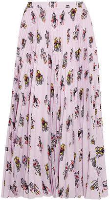 Shop Now - >  https://api.shopstyle.com/action/apiVisitRetailer?id=624010303&pid=uid6996-25233114-59 Prada - Printed Plissé-crepe De Chine Midi Skirt - Baby pink  ...