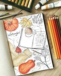 Bullet Journal Cover Ideas, Bullet Journal Notebook, Bullet Journal Inspo, Bullet Journal Layout, Bullet Journal Ideas Pages, Journal Covers, Book Journal, Art Journals, Bullet Journal November Ideas
