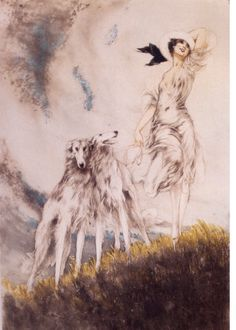 Deco Woman With White Borzoi Russian Wolfhound Dog s Magnet. $10.00, via Etsy.