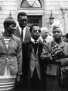"James Baldwin, May Mercier, Hazel Scott, Memphis Slim - ""Expatriates in Paris"" (1963) ~Repinned Via Iris Robinson  http://forum.skyscraperpage.com/showthread.php?t=153930"