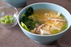 Tofu Mushroom Miso Soup ---  6 oz tofu, cubed 4 oz fresh mushrooms, sliced handful of leafy vegetable, chopped 1 egg, whisked 2 tbls chopped green onion 4 c water 4 tbls Miso & Easy.  bring broth to boil. Add tofu, mushrooms,vegetables. While stirring, slowly pour in whisked egg. Cook for 2 min. Remove the pot from the heat.   Stir in the Miso & Easy. (for miso paste, mix 1/2 c broth(veg) w paste to liquidfy then add).