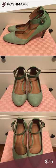 🆕Schuler & Sons Mint Pumps Gorgeous leather pumps from Anthropologie. Two tone mint colors. Minor scuffs visible from wear. Soles show some wear, but overall these are in good condition! Ankle straps have adjustable buckle. These are exceptionally well constructed and comfortable heels. Offers welcome, bundles encouraged! Anthropologie Shoes Heels