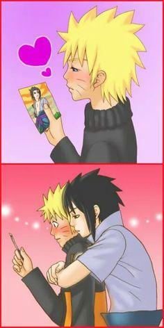Naruto is cute <3 Looking at pic :) naruto x sasuke