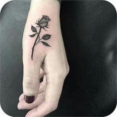26 Eye-catching Rose Tattoo Ideas For You; rose tattoos on shoulder. Hand Tattoos, Thumb Tattoos, Finger Tattoos, New Tattoos, Body Art Tattoos, Horse Tattoos, Tatoos, Rose Tattoo On Hand, Tatoo Rose