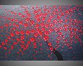 Peinture moderne rose rouge for Peinture acrylique sur toile