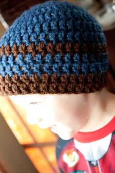 Blue and Brown Boy's Beanie
