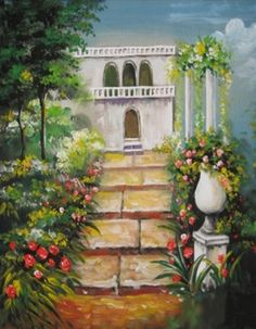 Hand Painted Scenic Backdrop. Stone steps with a garden theme.  Stone building at top of steps with pillars.