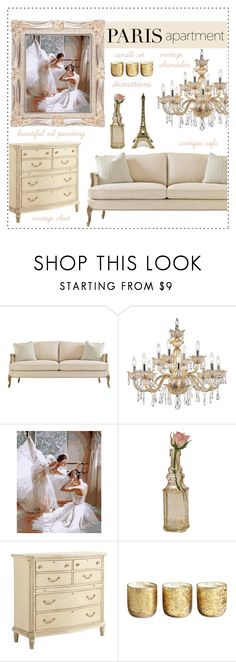 """Paris Apartment"" by anamarija00 ❤ liked on Polyvore featuring interior, interiors, interior design, home, home decor, interior decorating, Universal Lighting and Decor, Cultural Intrigue, Stanley Furniture and Illume"