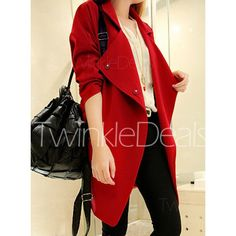 $17.49 Plus Size Long Sleeve Turn Down Collar Solid Color Women's Coat