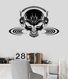 Wall Vinyl Decal Skull Music Headphones Scary by BoldArtsy on Etsy