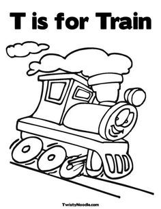 T is for Train Coloring Page from TwistyNoodle.com