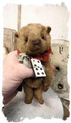 """Image of TiNY ChuBBY - a Chubby Little Brown BEAR * 5"""" Fat Teddy Bear * By Whendi's Bears"""