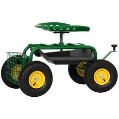 Rolling Garden Stool Tractor Seat Cart With Basket Swivel Heavy Duty  Gardening