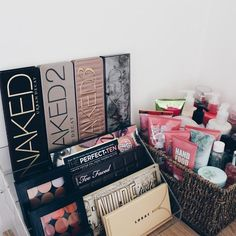 perfect to put your creams and lotions in a basket (they don't really need to be on display) love this for the pallets as well! if you know you're not going to buy any more but i think storing them like novels is a little better