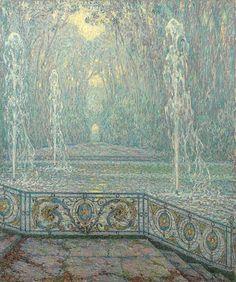 Les jets d'eau, Versailles, 1922, Henri le Sidaner. La-clef-des-cœurs