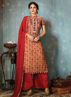 Artistic Print Work Beige and Red Cotton   Designer Palazzo Salwar Suit
