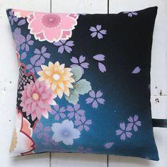"Indigo Blue, pink & yellow Vintage Kimono Fabric Cushion Pillow 'Pop Cherry Blossom 2' (14"" x 14"") (1990 - 12"" x 12"")"