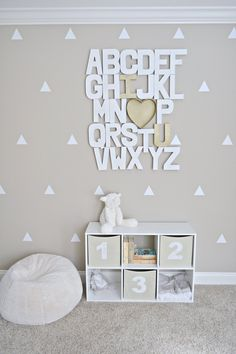 An ABCs print or poster is a popular piece of nursery decor, but some parents really go all out when it comes to displaying those essential 26 letters. Here are 25 creative examples, from wood and cardboard letters to decals to string art and much more.