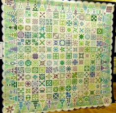 Dear Jane in green, blue and lavender. 2013 Australian Quilters Association, posted by Celia Gibson at Quilting by Celia