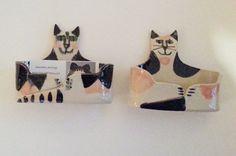 pottery cat: desk decor business card holder Calico by firecat