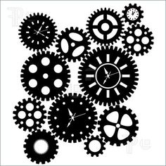 Illustration of Time Clock Gears Clipart Black SIlhouette Isolated on White Background Illustration
