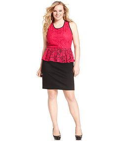 NY Collection Plus Size Dress, Sleeveless Lace Peplum Dress - Plus Size Dresses - Plus Sizes - Macy's
