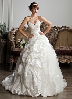 Ball-Gown Sweetheart Chapel Train Taffeta Tulle Wedding Dress With Ruffle Beading Feather Appliques #wedding #dress