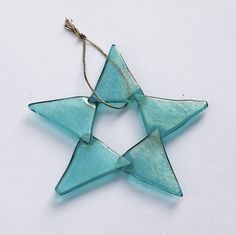 Fused Glass Star Ornament, Iridescent Aqua with Five Points | SteiderStudios - Housewares on ArtFire