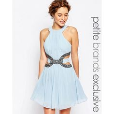 Little Mistress Petite High Neck Skater Mini Dress With Embellished... (165 BGN) ❤ liked on Polyvore featuring dresses, paleblue and petite