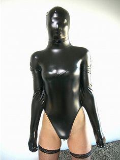 Metallic Black Red Zipper Lycra Zentai spandex Unisex catsuit S-XXL