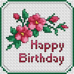 A small floral design and text Happy Birthday for cards/tags making.