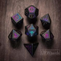 Full Set Obsidian DnD Dice Set - Raised Dice for Dungeons and Dragon, RPG Game Holographic Numbe Dagger Style Fanfic Exo, Magia Elemental, Dragon Dies, Vikings, Dungeons And Dragons Dice, Elder Futhark Runes, Board Game Design, Viking Runes, Pen And Paper