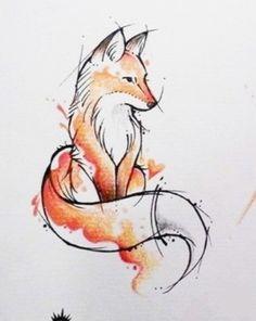Watercolor fox tattoo # watercolor cooking DIY best tattoo diy best tattoo Informations About Aquarell Fuchs Tattoo # Aquarell Koch Watercolor Fox Tattoos, Watercolour Drawings, Painting & Drawing, Fox Watercolour, Drawing Tips, Diy Painting, Drawing Drawing, Cute Fox Drawing, Drawing Poses