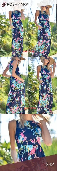 Beautiful Floral Maxi's Super adorable floral print maxi dresses - has hidden pockets and razor back - dress has good stretch and an easy pullover style - small bust 34 / medium bust 36/ large 38 - dress length  is 54' - 95% polyester 5%spandex - made in the USA  price is firm Boutique Dresses Maxi