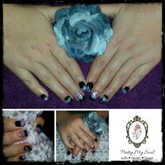 Acrylic black and silver glitter set with tips. Art done with crushed shells, encapsulated harts, and gel polish ❤❤❤ Silver Glitter, Gel Polish, Heart Ring, Shells, 3d, Nails, Pretty, Black, Jewelry