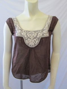 Anthropologie Fei Brown 100% Cotton Lace Trim Scoop Neck Cap Sleeve Top 2 XS #Anthropologie #Blouse #Casual
