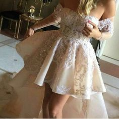 A-Line Off-The-Shoulder Long Sleeves High Low Homecoming Dress With Appliques
