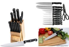Kitchen Knife Set Wooden Block 13 Piece Stainless Steel Blades Chef Kitchen New #UtopiaKitchen