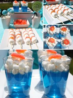 like the idea of the jelly cups - could do with a choc plane on top for flying-themed party Nerf Birthday Party, Planes Birthday, Planes Party, Airplane Party, Nerf Party Food, Cake Birthday, Party Games, Ocean Party, Luau Party