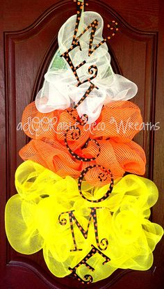 Candy Corn Welcome Wreath by aDOORableDecoWreaths on Etsy