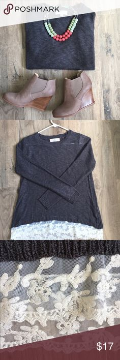 Gray Sweater w/Lace Cute lightweight sweater. Perfect condition worn once. Looks super cute paired with jeans and flats or booties. Gray sweater cream lace. Size S. Body 55% cotton 45% acrylic lace 80% cotton 20% nylon 🚭non smoking home Tops