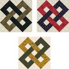 Free Quilt Block Patterns, F through L: Interlocking Chains Quilt Blocks
