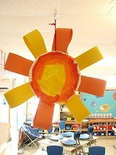 Good for spring or summer project, or equinox days when day starts getting longer/ shorter. Sun Crafts, Summer Crafts, Art For Kids, Crafts For Kids, Arts And Crafts, Kindergarten Art, Preschool Crafts, Creation Crafts, Sun Art