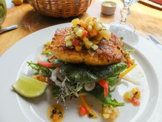Caribbean kingfish for lunch at Dasheene Restaurant at Ladera Ladera Resort St Lucia, Caribbean Vacations, Salmon Burgers, Seafood, Lunch, Restaurant, Dining, Cooking, Ethnic Recipes