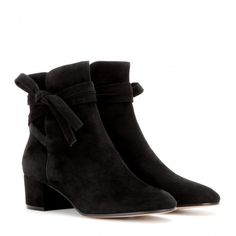 Gianvito Rossi Moore Suede Ankle Boots ($785) ❤ liked on Polyvore featuring shoes, boots, ankle booties, black, suede bootie, short suede boots, suede booties, black bootie and black booties