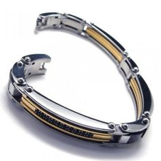 Men's Golden Silver Pure Titanium Charm Bracelet New 17640