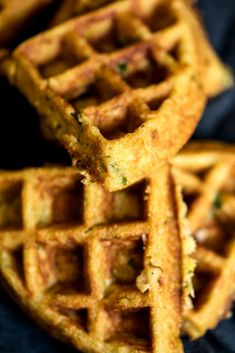 A savory breakfast featuring whole grain honey jalapeno zucchini cornbread waffles. Delicious, filling and perfect when topped with a fried egg and a side of turkey bacon! Cake Batter Waffles, Cornbread Waffles, Savory Waffles, Savory Breakfast, Pancakes And Waffles, Breakfast Recipes, Breakfast Waffles, Banana Pancakes, Brunch Recipes