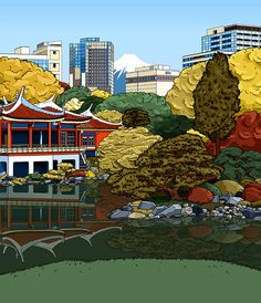#AnnaLazareva #digital #vector #vectorillustration #illustration #fashion #Japan #Japanese #JapaneseGardens #gardens #landscape #travel #city #skyline #LindgrenSmith